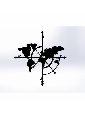 Стенно метално пано карта на света HM7214
