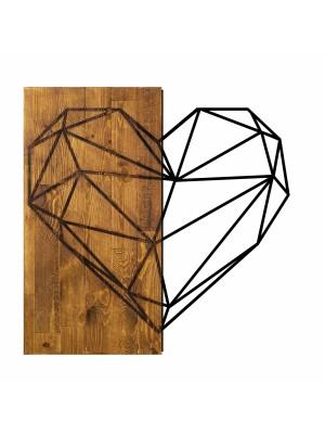 Стенно пано метал и дърво със сърце HM7219