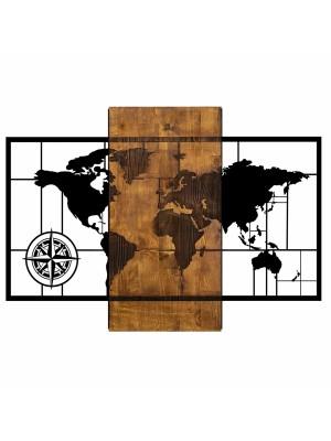 Стенно пано метал и дърво карта на света HM7223
