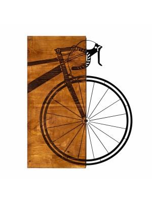 Дървено стенно пано с метален велосипед HM7224