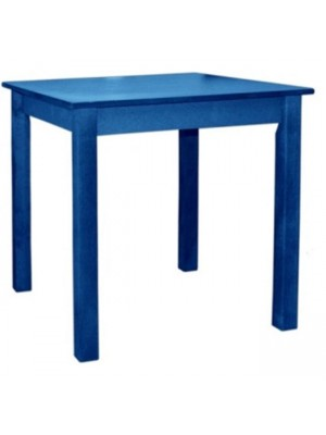 Traditional greek table 80x80 solid oak wood and mdf desktop blue lacquer HM8248