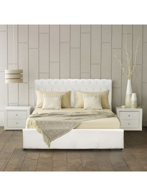 Bed Mone HM321.02 T. Chesterfield with storage space White PU