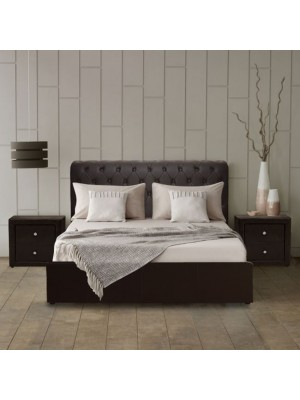 Bed Mone HM321.01 T. Chesterfield with storage space Brown PU