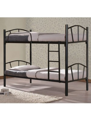 Двуетажно метално легло Bunk черен цвят  90x190 HM328.01