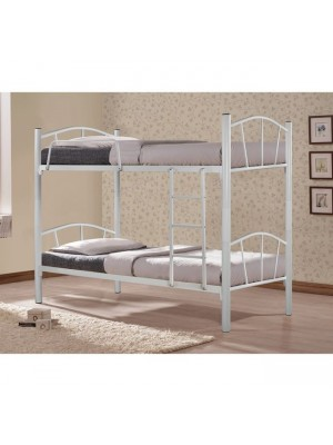 Двуетажно метално легло Bunk в бял цвят 90x190 HM328.02