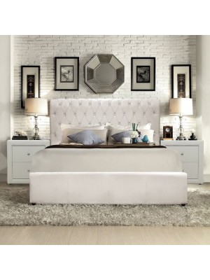 Bed Queen HM365.02 Double 150x200 T. Chesterfield White matte PU