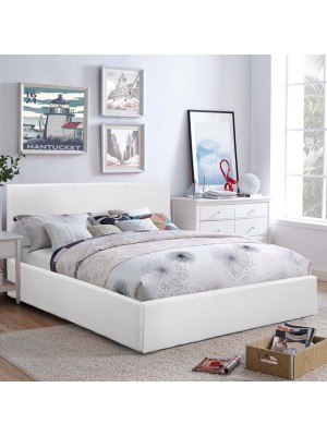 Bed Bobbi PU white with storage space HM554.01 150x200