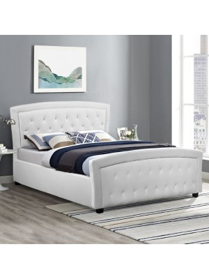 Bed Odelia with white PU HM550.01 150x200