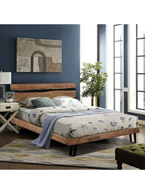 Bed HM8359 from metal and solid acacia wood 150Χ200