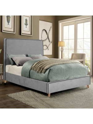 Bed Allie Double 150x200 with fabric grey and black rope HM560.01