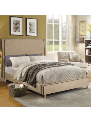 Bed Allie Double 150x200 with beige fabric and brown rope HM560.02