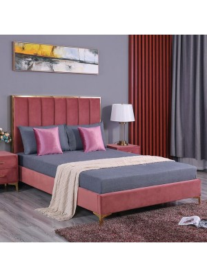 Bed Avignon King size 160x200 with velvet fabric Rotten Apple HM590.02