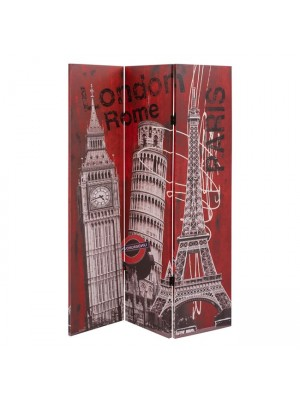 ДВУЛИЦЕВ ПАРАВАН Big Ben, Rome, Paris 180X121X2.5 cm. HM7152.09