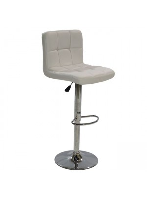 Bar Stool Diana HM202.02 White PU with back and gas lift