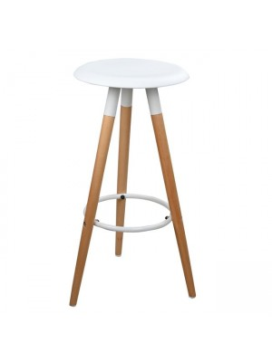 Bar Stool with wooden legs & White Seat Tonia HM0116.01