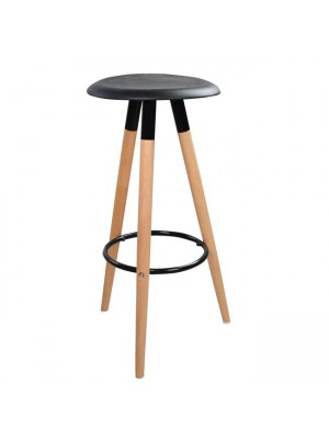 Bar Stool with wooden legs & black Seat Tonia HM0116.02