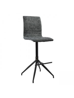 Bar Stool Astrid HM8041.01 Metal and PU black/grey
