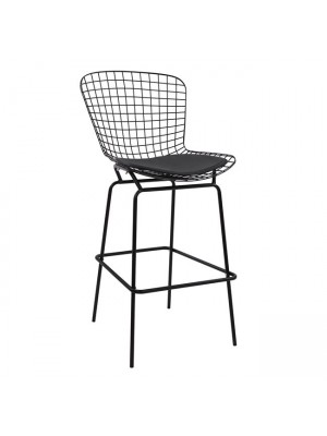 Bar Stool Metallic Manon HM8046.01 Black with black PU