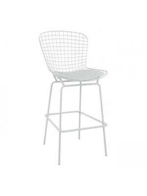 Bar Stool Metallic Manon HM8046.02 White with white PU