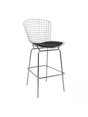 Bar Stool Metallic Manon HM8046.100 Chromed with Black PU