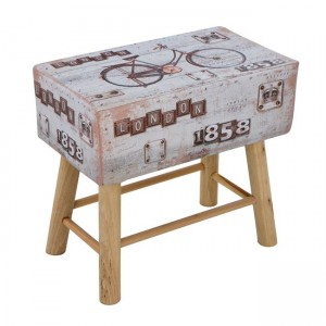 Stool from PU with 4 wooden legs D 53X31X48 HM8150 Bike