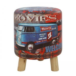Stool from PU with 3 wooden legs HM8153 Movies D 30x38