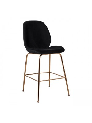 Bar Stool Nora Black Velvet & Gold Metallic Frame HM8524.04