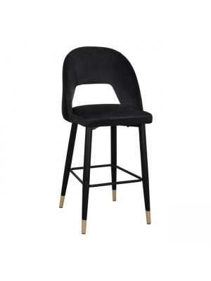 Bar Stool Harper HM8526.04 Velvet Black with metallic frame 50x49x108cm