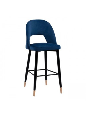Bar Stool Harper HM8526.08 Velvet Blue in metallic frame 50x51x111cm