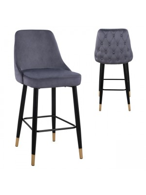 Bar Stool SERENITY HM8519.01 from velvet grey with metallic frame 51x57x110cm