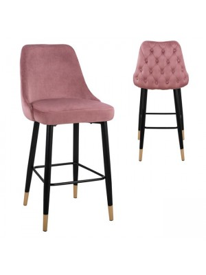 Bar Stool Paige HM8519.02 Velvet Rotten Apple with metallic frame 51x57x110cm