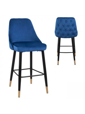 Bar Stool Paige HM8519.08 Velvet Blue with metallic frame 51x57x110cm