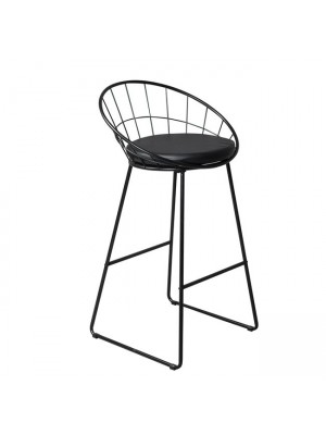 Stool Mason medium height metallic Black with PU Black Seat HM8558.01