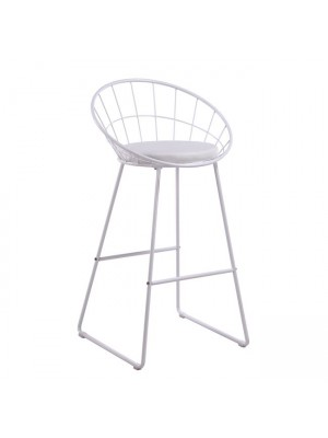 Stool Mason medium height metallic white with PU white seat HM8558.02