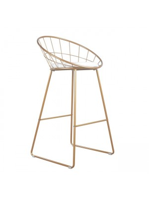 Stool Mason medium height metallic gold with PU white seat HM8558.200