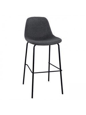Stool with metallic frame and fabric in grey color 47x50x106cm HM8579.10