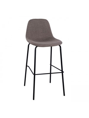 Stool with metallic frame and fabric in brown color 47x50x106cm HM8579.03