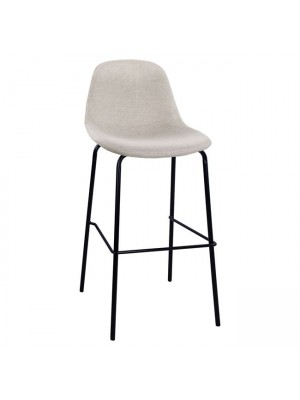 Stool with metallic frame and fabric in beige color 47x50x106cm HM8579.04