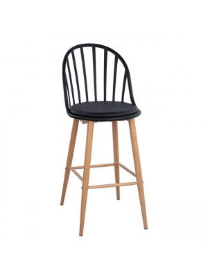 Stool Bar with metallic legs Alina HM8580.02 Black Color 47x57x113cm