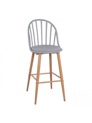 Stool Bar with metallic legs Alina HM8580.10 Grey Color 47x57x113cm