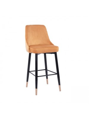 Bar Stool SERENITY HM8519.09 Gold Velvet with metallic frame 51Χ58Χ110cm