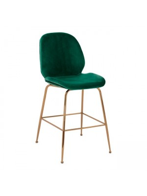 Bar Stool Middle Height Nora HM8524.03 Velvet Cyppress Green & Gold  metallic Frame