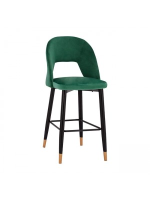 Bar Stool Harper HM8526.03 Velvet Cypress Green with metallic frame 50x51x111cm
