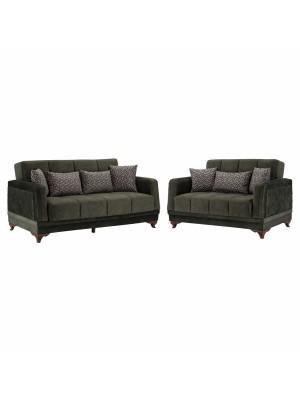 Комплект разтегателни дивани Millenium с тъмно зелена  дамаска HM3061.07