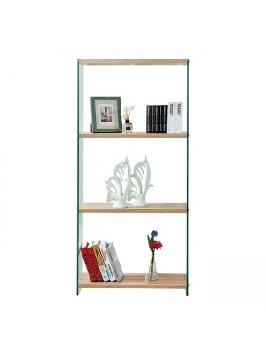 Bookcase from glass and shelves from mdf 76X30X165 HM8092