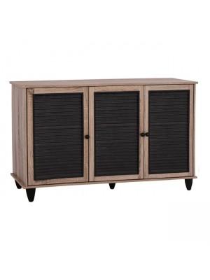 ШКАФ ЗА ОБУВКИ Wooden 3 Door HM2267.02 Sonama - black color 112x30 HM2267.02