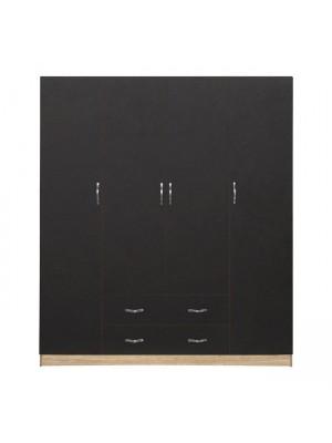 Гардероб с 4 врати with 2 200x180x55.5cm HM353.04 цвят сонома-сив