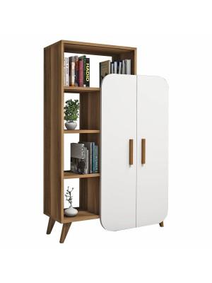 Шкаф с рафт от меламин с дебелина 18 мм цвят орех/бяло HM8878.01