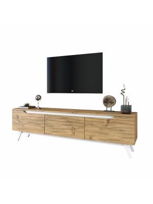 Тв шкаф с изчистен дизайн цвят бяло и орех HM8902.01