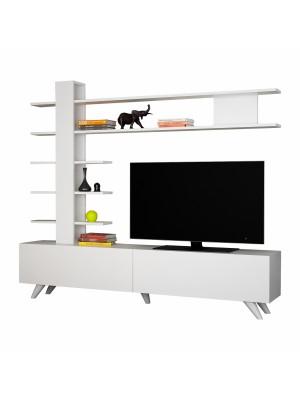 Тв шкаф в бял цвят с надстройка с 5 рафта HM8905.01
